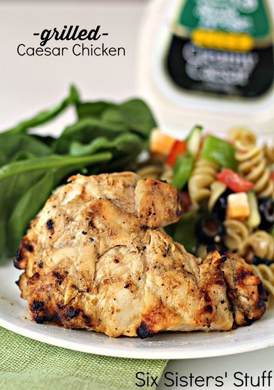 Grilled Caesar Chicken on SixSistersStuff.com - who knew these simple ingredients would make such a great marinade?