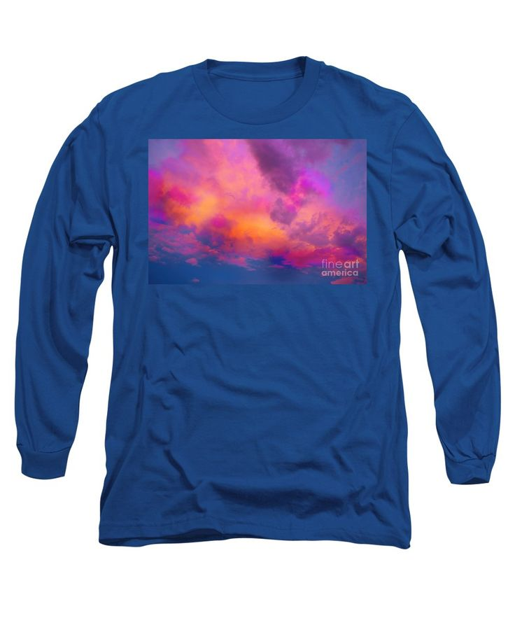 Neon Clouds Bright Vibrant Dramatic Compelling Colorful Manipulation.fuchsia Raspberry Magenta Blue Turquoise Orange Yellow Pale Pink Long Sleeve T-Shirt featuring the painting Close To Heaven #129 by Expressionistart studio Priscilla Batzell