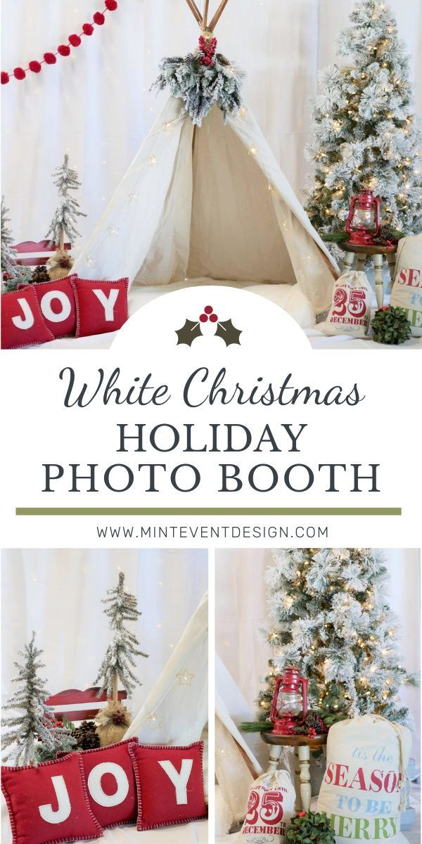 White Christmas Holiday Photo Booth Mint Event Design In 2020 Christmas Holiday Photos Holiday Photo Booth Winter Holiday Party