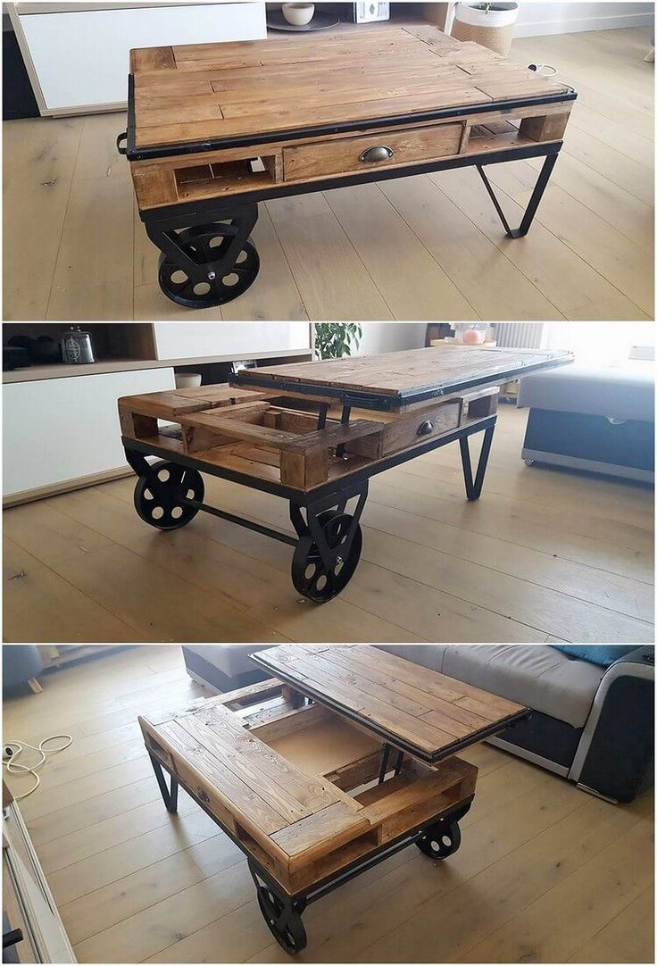 Let's talk about this amazing wood pallet lift up top table design that is giving out such an impressive taste of appearance. As you would be lifting up the top table, in its bottom side the storage space has been all put together in the comprising flavors for the storage purposes.