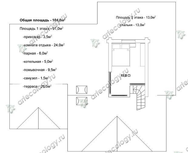 План 2 этажа - 2 floor