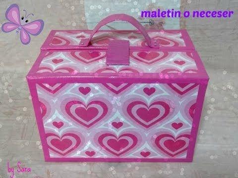 Como hacer un maletín organizador de maquillaje con cajas de cartón, manualidades fáciles - YouTube