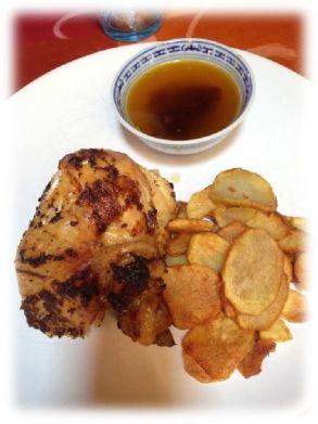 Pollo allo spiedo con patate fritte