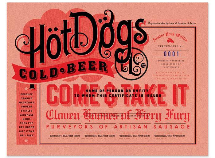 Hot Dogs, Cold Beer: Design Inspiration, Austin Texas, Cold Beer, Graphics Design, Graphics Projects, Frank Hot, Vintage Inspiration, Hot Dogs