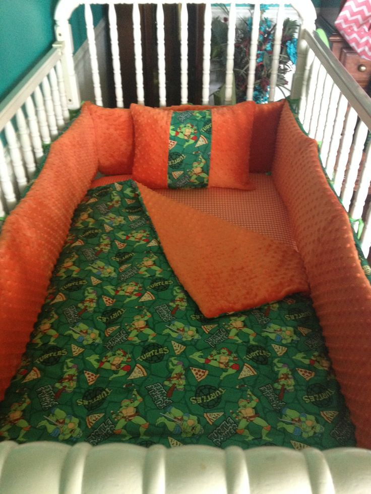 Handmade 5 Peace Boys Ninja Turtles Crib Bedding Set 100% cotton by GRAMOURBABY on Etsy