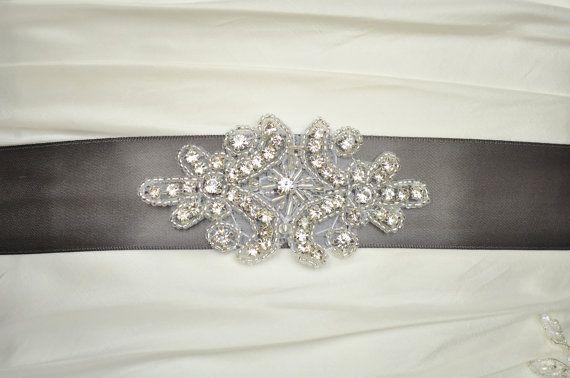 Crystal Wedding Belt Charcoal Pewter Wedding by Avenue22Bridal