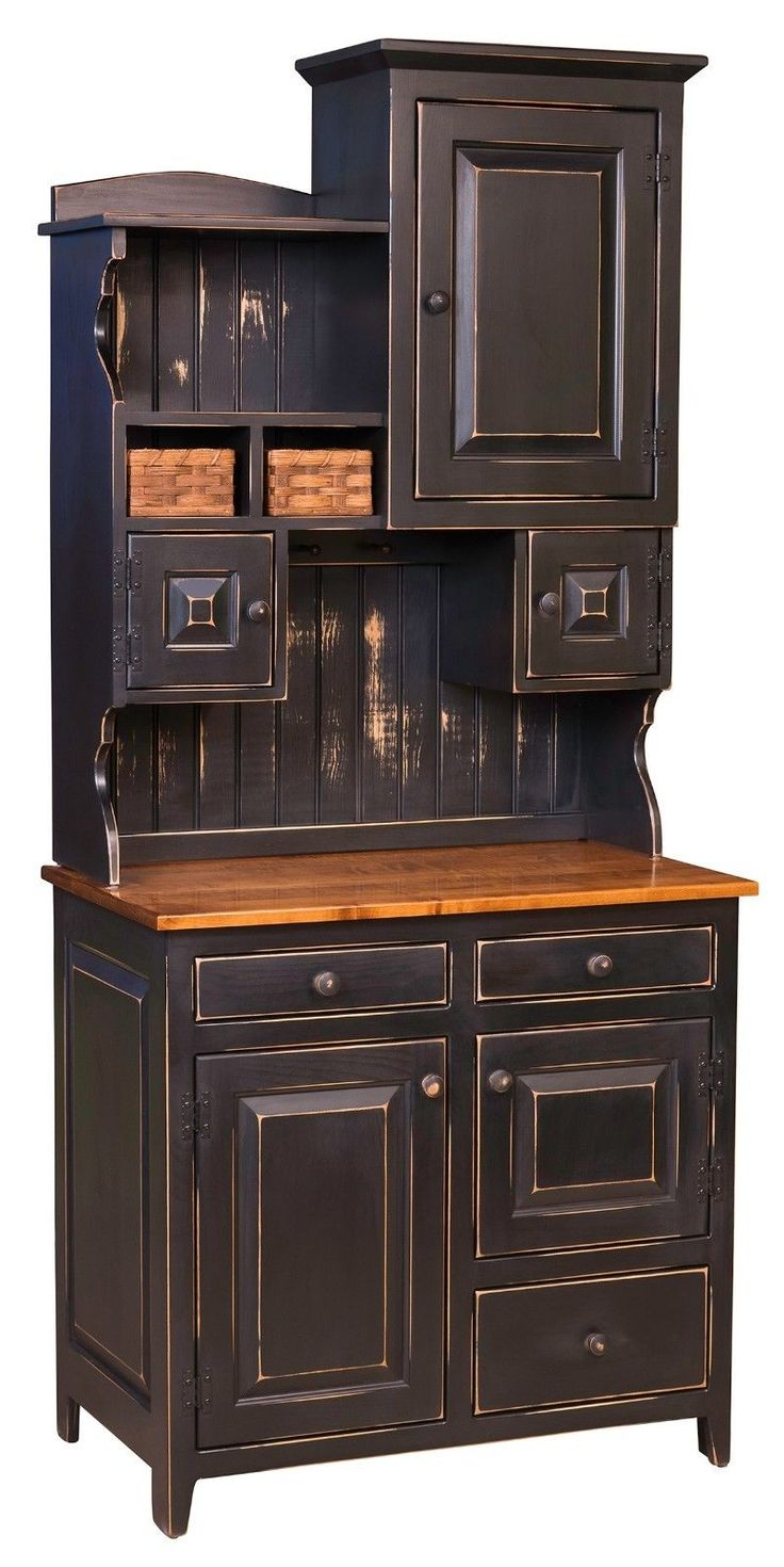Small Amish Primitive Pantry Hutch Farmhouse Cottage Cupboard Distressed Wood | eBay