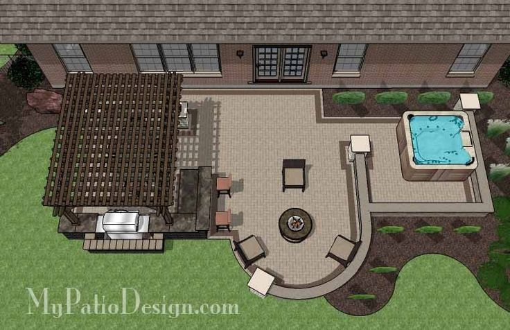 775 sq. ft. of Outdoor Living Space. Areas for Outdoor Dining, Grilling,Fire Pit with Seating and Hot Tub. 12' x 16' Cedar Pergola with Column