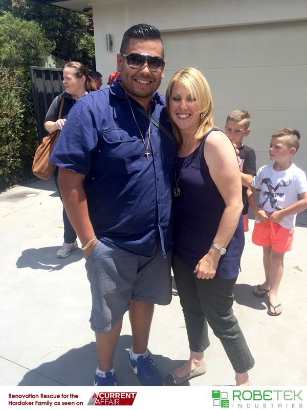 PAUL SILVA OWNER OF ROBETEK INDUSTRIES WITH VANESSA HARDAKER. Renovation Rescue for the Hardaker family as seen on A Current Affair. Call 02 9608 8899 for FREE MEASURE & QUOTE (Sydney metro area)