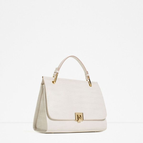 Zara City Bag With Fastening Detail (510 SEK) ❤ liked on Polyvore featuring bags, handbags, city bag, white handbags, zara handbags, zara purse and zara bags