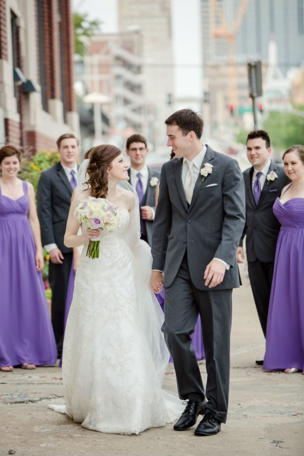 Wedding party dressed in purple and charcoal gray (Freeland Photography LLC)
