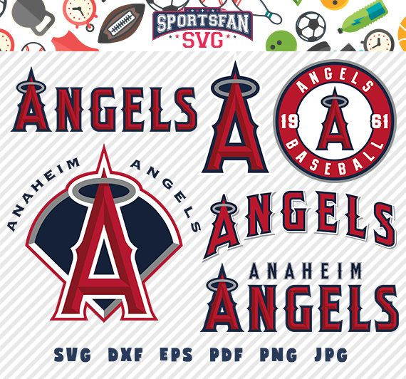 LA Angels of Anaheim svg pack- baseball team, baseball league, baseball cut files collection vector clipart digital download  png, jpg, eps by SportsFanSVG on Etsy