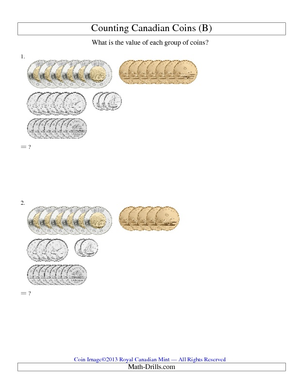 New 2013-03-06! Counting Canadian Coins (B) -- 4 different versions on the money page.