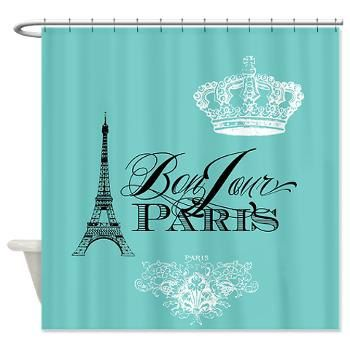 Paris France Teal Shower Curtain - Chic, french, crown, Eiffel Tower - home decor, bathroom on Etsy, $60.00