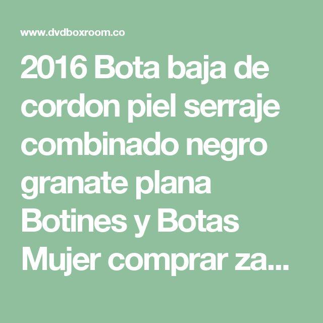 2016 Bota baja de cordon piel serraje combinado negro granate plana  Botines y Botas  Mujer  comprar zapatos online  qH2DHhtO.jpg (400×347)