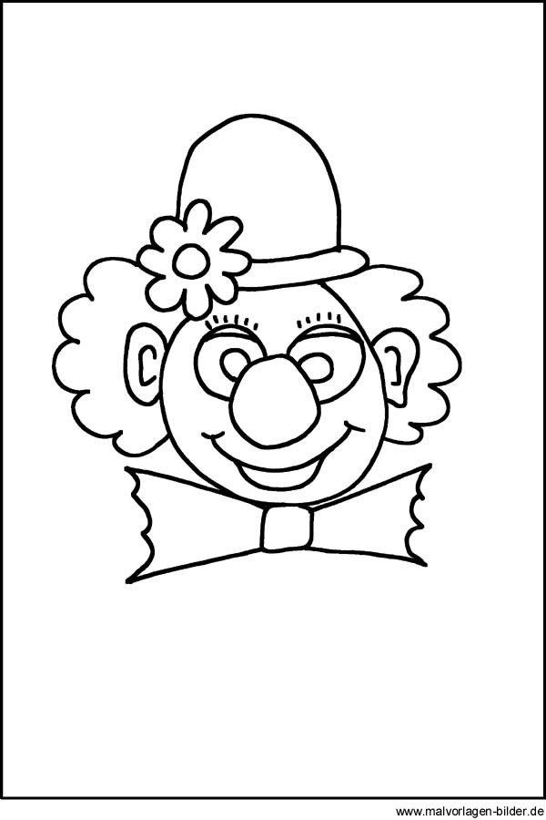 ausmalbild fasching clown  kinder ausmalbilder
