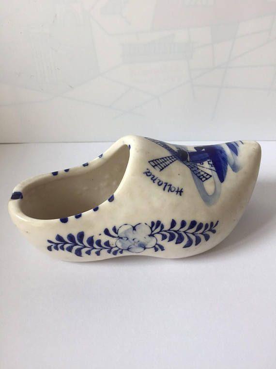 Dutch clog porcelain Delft blue style  White blue Holland