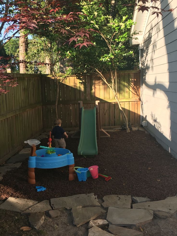 Backyard Play Space For Kids Used Rubber Mulch About 10