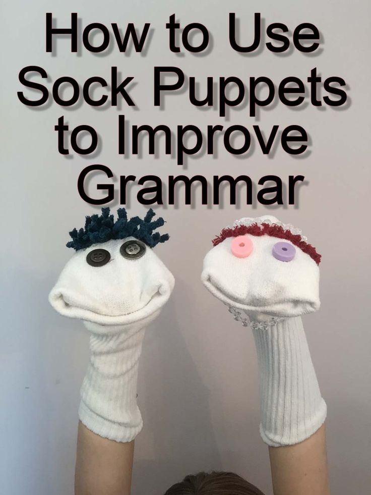 This fun therapy activity will let you work on grammar skills like pronouns and verb tenses while you're playing with sock puppets. It's cheap, it's easy, and it's SUPER fun! Check it out: Materials:  	Two Sock Puppets: Use tube socks and hot glue eyes and