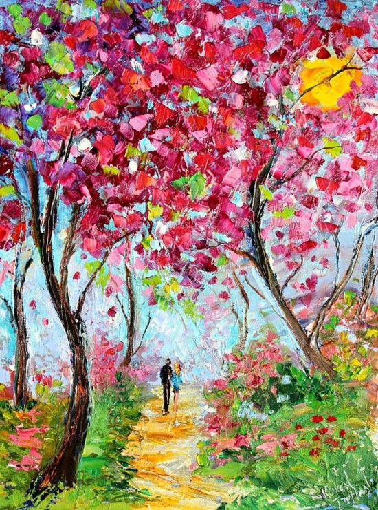Landscape painting original oil spring love by http for Spring canvas paintings