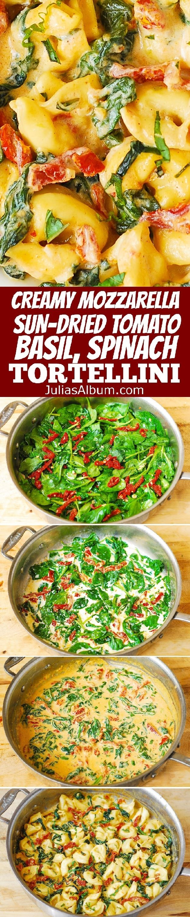 Creamy Tortellini smothered in a delicious Mozzarella Cheese sauce with Sun-Dried Tomatoes, Basil & Spinach . Easy comfort food dinner made in 30 minutes! #pasta (Cheese Tortellini Shrimp)