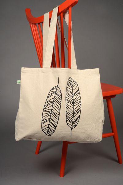 """Jutebeutel - zialee organic Tasche """"Federn"""" - ein Designerstück von zialee bei DaWanda"""