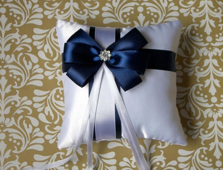 White satin wedding ring pillow with navy blue bow and rhinestone, white ring bearer pillow with navy blue ribbon, ring holder, ring cushion by DittaDesign on Etsy