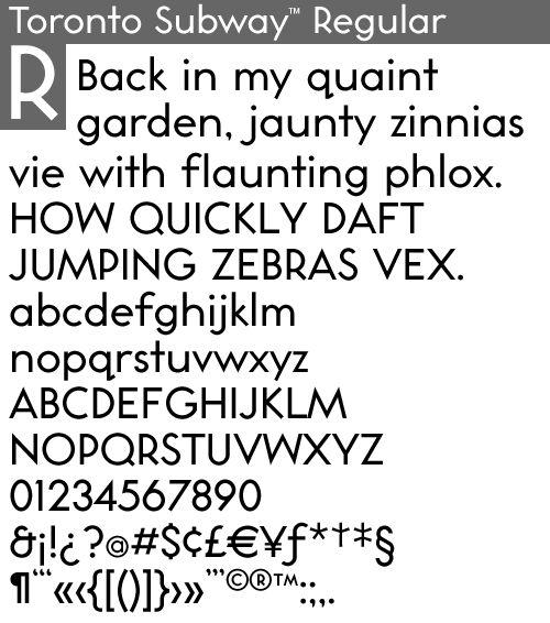 u0026quot toronto subway regular u0026quot  font