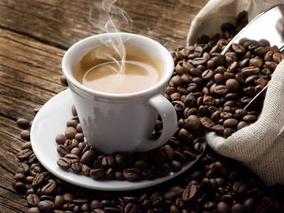 Hot coffee and coffee beans