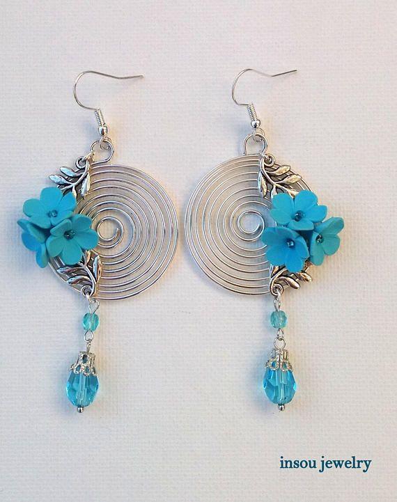 Spiral Earrings Flower Earrings Turquoise EarringsTurquoise