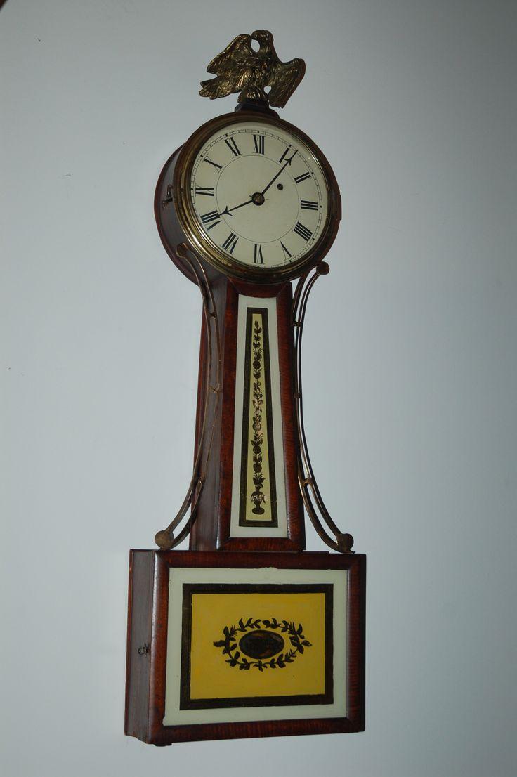 Leonard W Noyes New Hampshire Banjo Clock Ca 1830