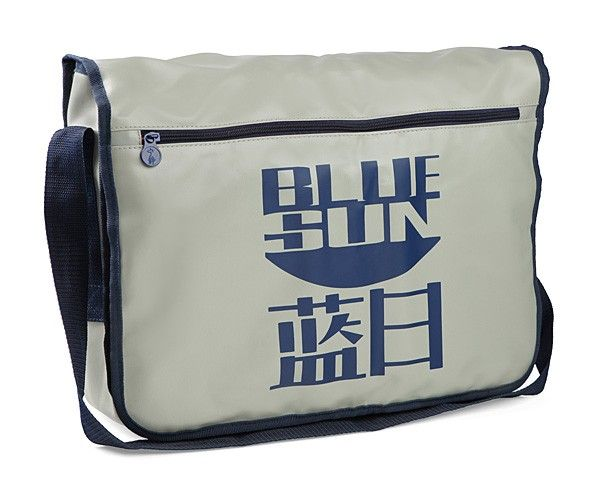 """The Firefly Blue Sun Messenger Bag is for those who have joined the Alliance's side.  Or maybe are wearing it ironicially.  Who knows - either way, this officially-licensed Firefly merchandise has a flap close with two snaps, zipper-pulls read """"serenity"""" in Hanzi and an orange liner."""