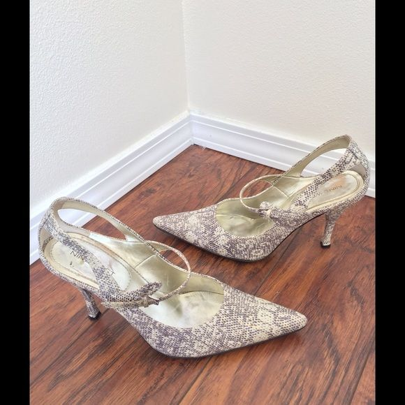 Nine West Heels Nine West Heels cream and grey snake print, ankle strap, pointed toe, super chic and comfortable heels! Nine West Shoes Heels