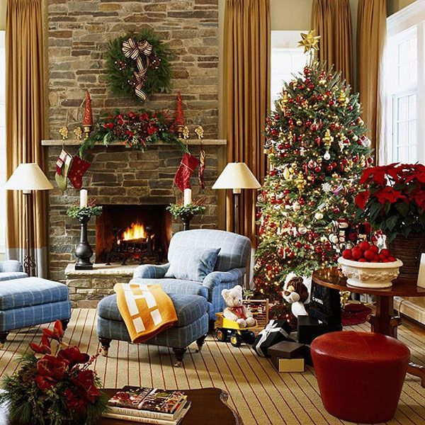 Decoration Beautiful Christmas House Decorations Design Ideas With Tree At Living Room And Blue Puffy Sofa Bed Fireplace Mesmerizing
