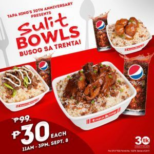 Busog sa Trenta Promo: Sulit Bowls now for Php30 each @ Tapa King #DealsPinoy
