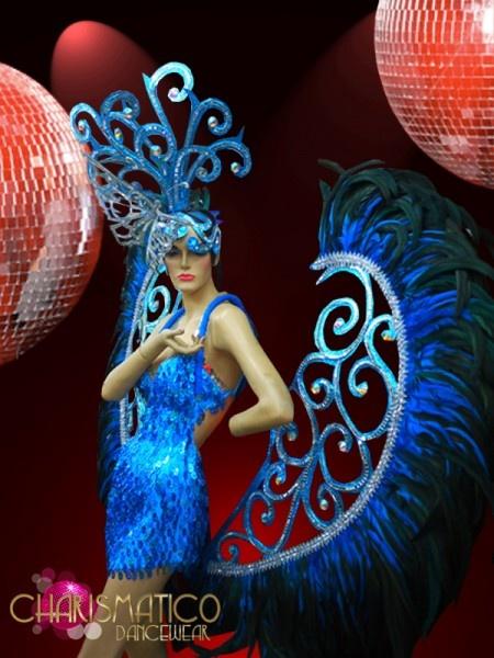 BLUE CABARET SHOW GIRL SEQUIN BUTTERFLY Headdress Costume set +