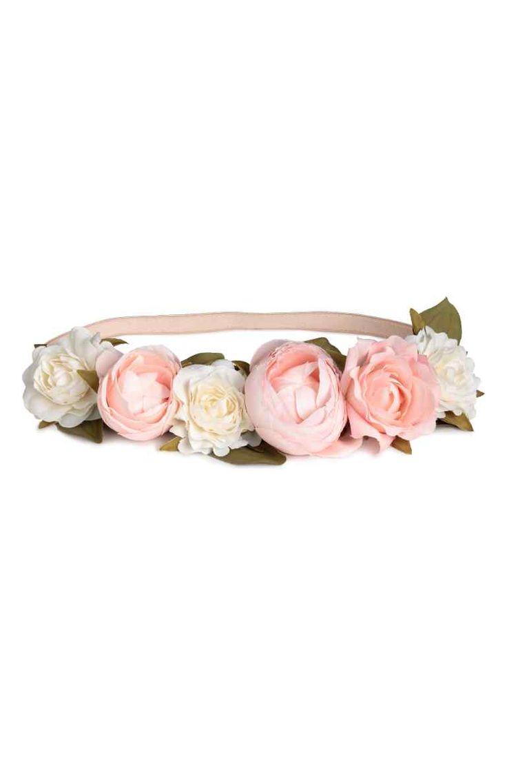 Fascia per capelli con fiori - Rosa cipria/bianco - DONNA | H&M IT 1
