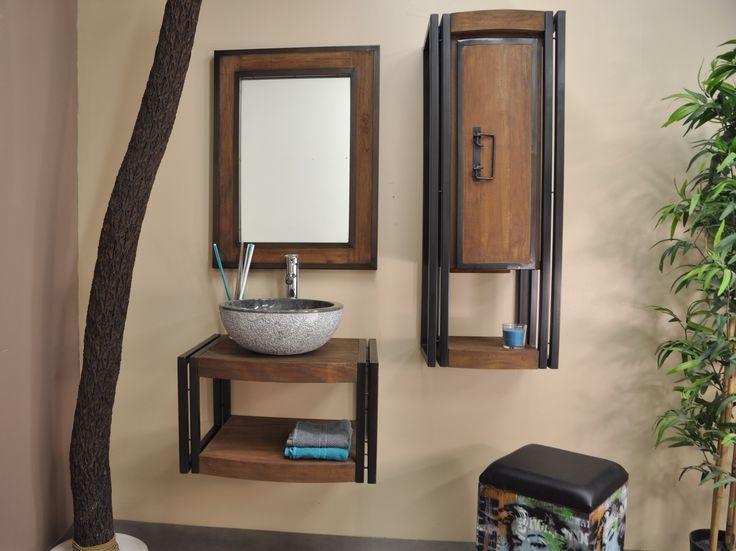 Ensemble métal et bois pour salle de bain comprenant : un meuble suspendu en teck (L60 x P 48- 45 x H37 cm) et un miroir en teck brossé (L60 x H80 cm).  Parfait pour :  une vasque à poser.
