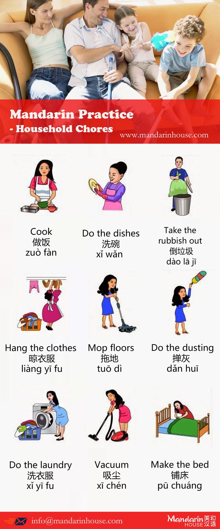 House Chores in Chinese.For more info please contact:sophia.zhang@mandarinhouse.cn The best Mandarin School in China.