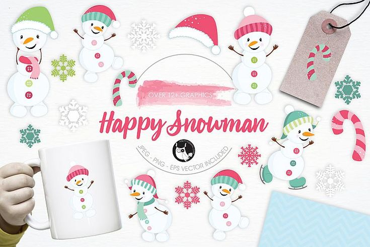 Happy Snowman graphics and illustrations example image