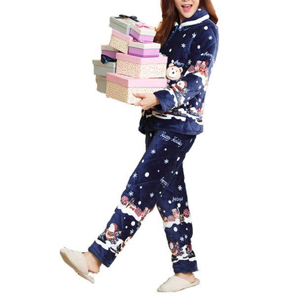 Pyjamas Bleu nuit de Noël pour femme   Pyjamas Bleu nuit de Noël pour femme