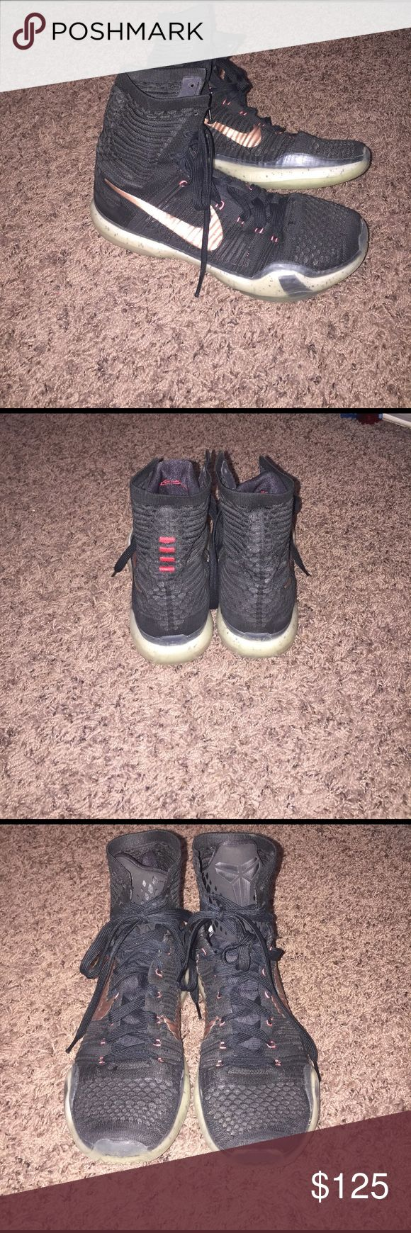 Nike Kobe X Elite Rose Gold Basketball Shoes Nike Kobe X Elite Rose Gold Basketball shoes. Black and bronze. High top, size 9.  Worn one season of basketball, in excellent condition. Never worn outside. Nike Shoes Sneakers
