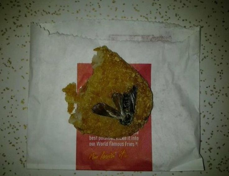 Cockroach In McD Hash BrownIn May 2012, Reddit user LinkBoyJT posted an image Wednesday that might make your skin crawl. After ordering a McDonald's hash brown and eating most of it, he says he was startled to find what he claims was a deep-fried insect stuck to the bottom half.