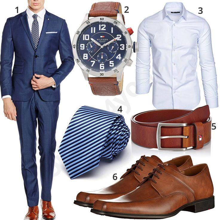 Business-Outfit mit blauem Anzug, Hemd und Krawatte (m1041) #business #