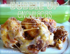 Bubble-Up Enchiladas - This 5 ingredient recipe is stupidly easy to make, tastes out-of-this-world, is kid-friendly, and is oh so cheesy. Can it get any better than that? Bubble-Up Enchiladas sell themselves. So, click on the recipe, forget about your original dinner menu for tonight, and make this instead. Seriously. You have to try this Mexican casserole. You'll never view enchiladas the same way again.