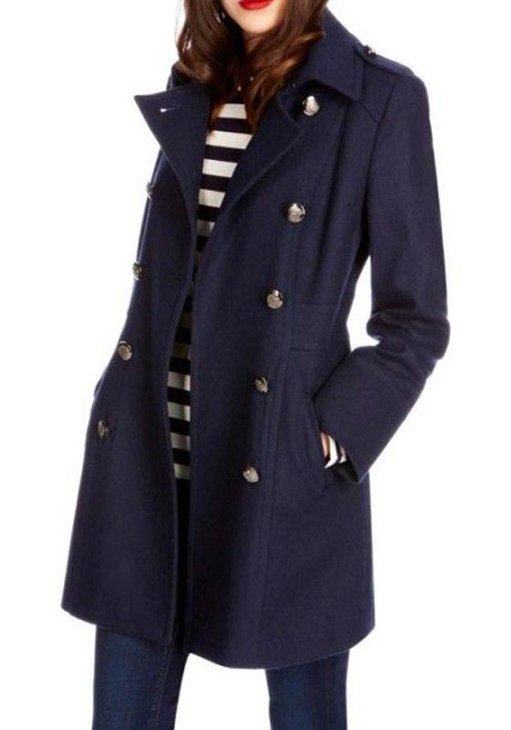 Navy Blue Turndown Collar Long Sleeve Wool Coat