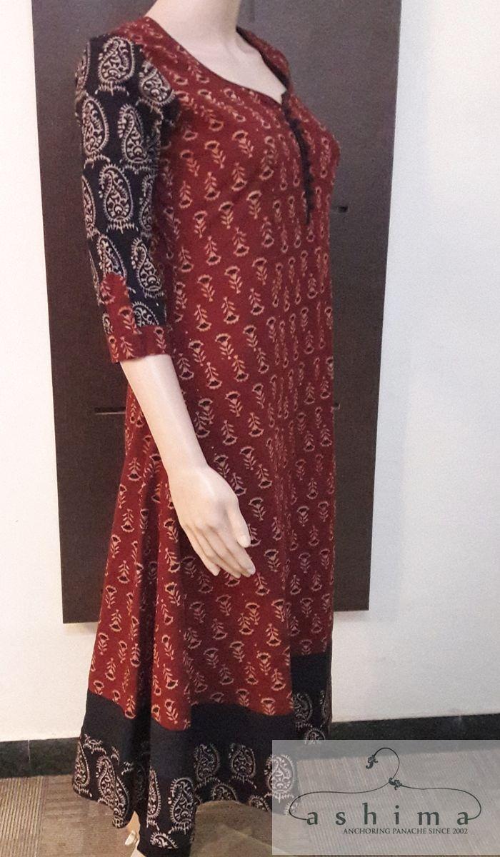Code:0304170 - Block Printed Cotton Kurti, Price INR:1590/-