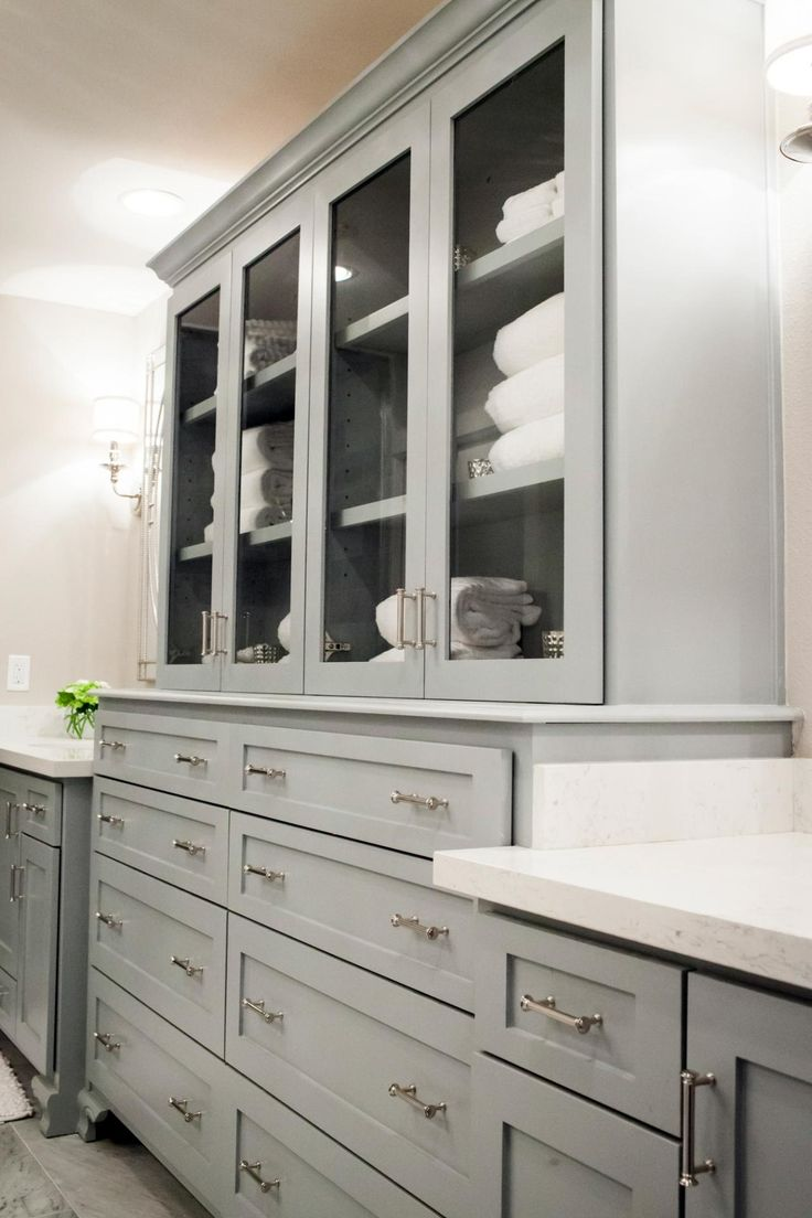 Asian bathroom vanity cabinets - Fixer Upper Midcentury Asian Ranch Goes French Country Bathroom Cabinet