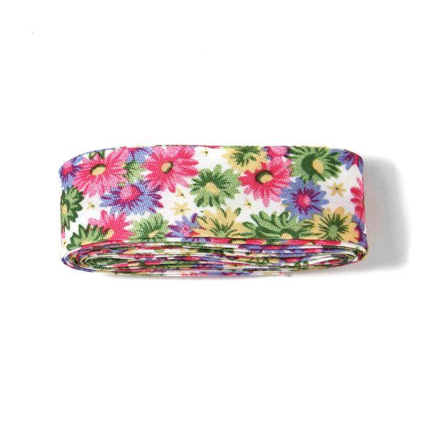 3 m snedslå Blommor 3 - färgmix - Sommarkollektionen - Knappar - Barnband med blommormotiv - Snedband multicolor - tyg.se