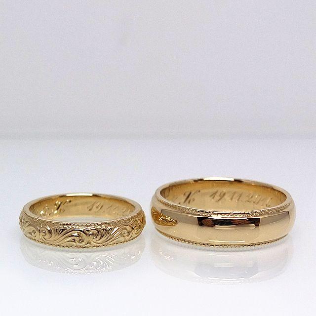 Obrączki z zółtego złota z ręcznie grawerowanymi ornamentami. pytania: waszeobraczki@gmail.com http://waszeobraczki.pl